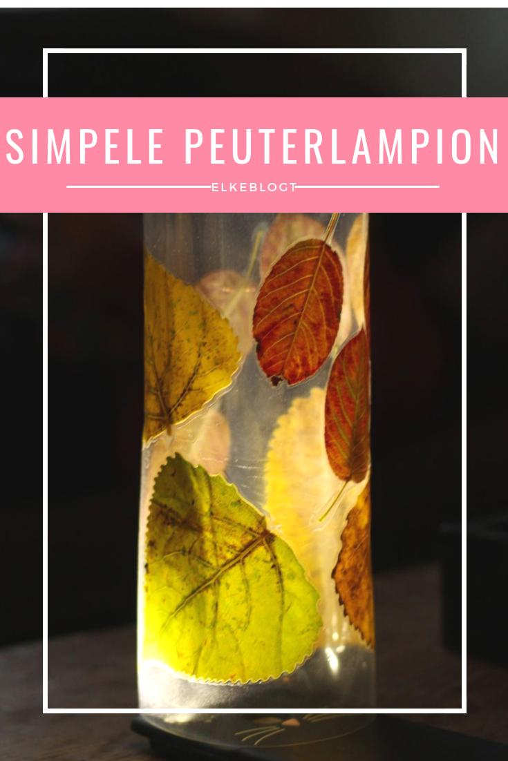Simpele lampion voor peuters met bladeren